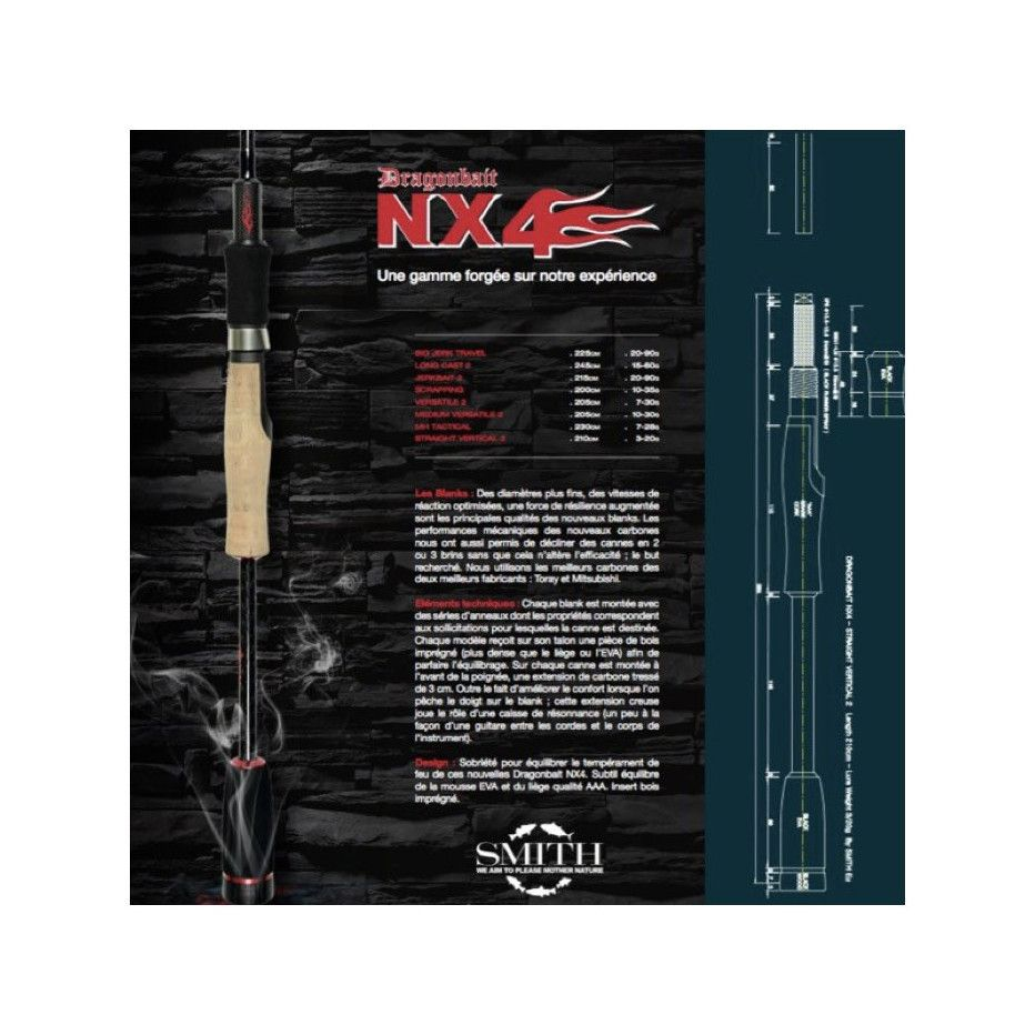Canne Spinning Smith Dragonbait NX4 Straight Vertical 2